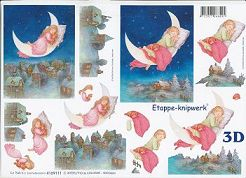 3D Etappen-Bogen-Kinder schlafend im Mond-4169111