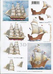 3D Etappen-Bogen-416923-Drei-Master / Historisches Segelschiff