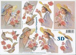 3D Etappen-Bogen-Frau mit Rosen-Porträt-4169427