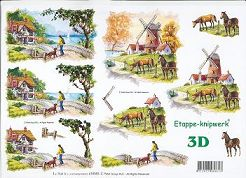 3D Etappen-Bogen-Pferd mit Fohlen auf der Koppel/am Fluss-416953