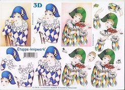 3D Etappen-Bogen-4169675-Harlekin auf dem  Stuhl