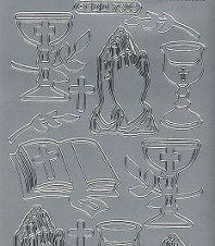 Zier-Sticker-Bogen-Kirchliche Motive-silber-7303s