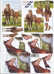 3D Etappen-Bogen-8215107-Pferd mit Fohlen auf der Koppel/am Fluss