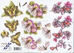 3D Etappen-Bogen-Schmetterlinge auf Blüten-821572