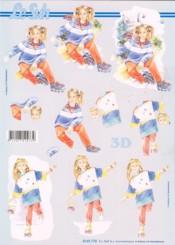 3D Etappen-Bogen - Mädchen auf Inliner-4169770