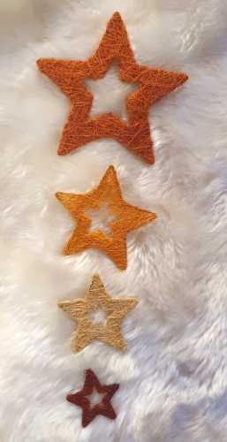 4er Set * Sisal-Sterne * Nr.14 - 5 / 7,5 / 10 / 15cm - verschiedene-Farben
