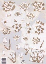 3D-Etappen-Bogen-Blumen - grau Töne -v.V.2337