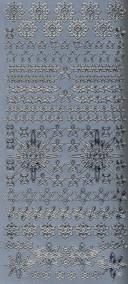 Zier-Sticker-Bogen-Sterne und Eisblumen-silber-W238s