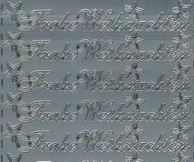 Zier-Sticker-Bogen-Frohe Weihnachten-silber-W-313s