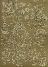 Zier-Sticker-Bogen-Tannenbaum-Kugeln-gold-W 534g