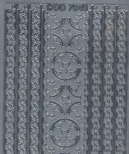 Zier-Sticker-Bogen-Ecken und Ränder-Sterne-silber-W 7040s