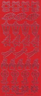 Zier-Sticker-Bogen-verschiedene Weihnachtsmotive-rot-W 960r